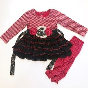 Girl Mustard Pie Black Tunic Top & Red Leggings 18